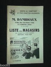 M. Damidiaux - La Garenne - Liste des magasins 1938 - meubles vêtements...