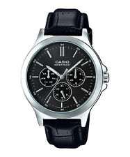 MTP-V300L-1A Black Casio Men's Watches Analog Geunine Leather Band Brand New
