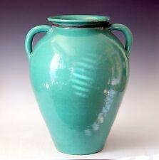 Large Vintage North Carolina Art Pottery Green Handle Floor Vase Porch Urn