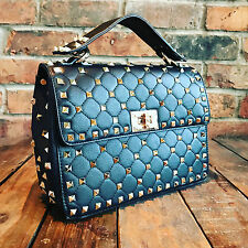 Womens Black Studded Moda Tote Handbag Faux Leather with Free River Island Gift