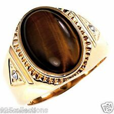 14 X 10 mm Oval Cut Brown Gold Plated Semi-Precious Tiger Eye Men's Ring Size 12