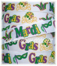 7/8 MARDI GRAS MAGIC MASK SKULLS GROSGRAIN RIBBON NEW ORLEANS 4 HAIRBOW BOW