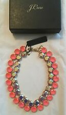 """NWT J Crew 15 3/4"""" Layered Crystal Statement Necklace Neon Hibiscus $118 #F5153"""