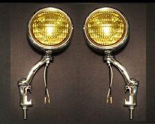 """12 Volt H3 Amber Glass 5"""" Fog Lights w/ Chrome Bumper Iron Brackets Antique 2"""
