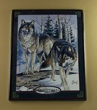 Seasons of the Wolf PEACE (Christmas) #5  Wall Clock Coll Plate Holiday