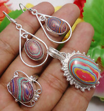 CHRISTMAS GIFT RING EARRING PENDANT SET IN CALSILICA 925 STERLING SILVER OVERLAY