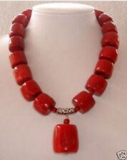 fashion Huge Red Cylinder Coral Necklace pendant 18""