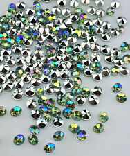 DIY 200pcs 5mm Green AB Resin Crystal beads Point back Rhinestones Strass NEW B3