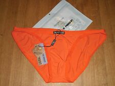 Mens Large Brave Person Sexy Nylon Spandex Low Rise Briefs Orange Full Back Gay