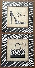 2 Animal Zebra Print SHOE & PURSE 8x8 Posters Fashion Wall Decor Heels Handbag