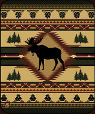 Moose Lodge High Quality Plush Raschel Queen Size Blanket