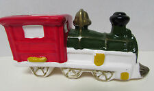 CHRISTMAS TRAIN LOCOMOTIVE ENGINE CANDY CONTAINER CERAMIC TAIWAN