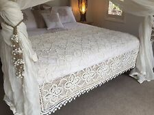Boho Luxe Gypsy Style Handmade Crochet Throw or Bed Runner Cover