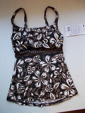 NEW Profile by Gottex E802 Brown Floral Beaded Tankini Top, Sz. 6 *FREE SHIP*