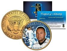 DEREK JETER * Captain * 24K Gold Plated Coin US Colorized JFK Half Dollar YANKEE