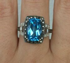 5CT Blue Topaz Ring With Black and White Diamonds 10kt Gold Size 7