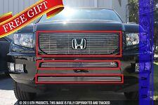 GTG, 2012 - 2014 HONDA RIDGELINE SPORT 3pc CHROME UPPER & BUMPER BILLET GRILLE
