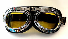 New Black Padded Steampunk Alternative Cyber Fantasy Goggles Yellow Lens Glasses