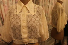 Cream lace cropped blouse - Ditsy Vintage 8 - 1970s hippie Victoriana