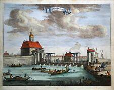 Amsterdam, de muyder Asador, muider puerta Caspar Commelin antigua de impresión de 1693