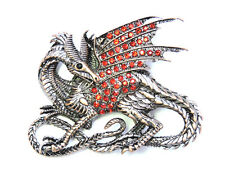 Flying Dragon Dinosaur Pin Brooch Gorgeous Red Crystal
