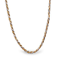 Diamond Cut Rope Sterling Silver Bi-Color Necklace - 24 in - SKU #69354