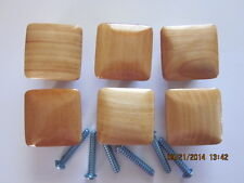 "6  Nat Fin SQUARE Wood  Dresser  Drawer Pulls Knobs 1 1/2"" size /  hole & screws"