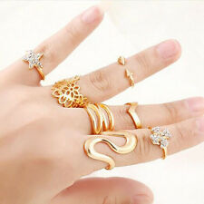 7pcs Crystal Gold Star Mid Midi Stacking Rings Above Knuckle Finger Tip Ring
