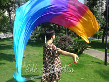 2pcs 2.3m*0.9m turquoise-blue-purple-pink-orange silk veil poi+bag,edges rolled
