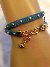 Juicy Couture Turquoise Studded Double Wrap SmallHeart Leather Bracelet YJRUOB98