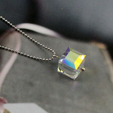 AB Moonlight Clear Crystal 12mm Cube 5601 925 Silver Chain Necklace Candy UK