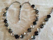 Swarovski Crystal Elements  Necklace & Bracelet Black White 12mm Jewelry Set