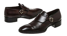Tom Ford Brown Leather Monk Strap Almond Toe Dress Shoes (Size 11)