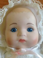 Porcelain Baby Doll Long Christening Dress Bonnet Pink Bow 15 Inches