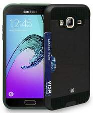 BLACK CREDIT CARD SLOT HARD WALLET CASE COVER FOR SAMSUNG GALAXY EXPRESS PRIME