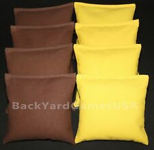 ALL WEATHER CORNHOLE BEAN BAGS Brown & Light Yellow Resin Filled WATERPROOF