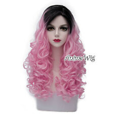 Lolita Pink Mixed Black Long 60CM Curly Anime Cosplay Heat Resistant Full Wig