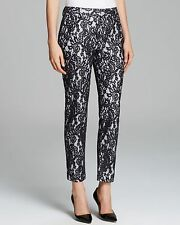 Catherine Malandro Christy Black White Lace Crop Trouser Pant 2 $428 Sold Out