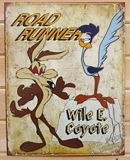 Road Runner Wile E Coyote TIN SIGN vtg looney tune cartoon metal wall decor 1888