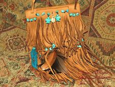 Arturo E.Reyna MEDICINE POUCH TURQUOISE UNISEX LEATHER FRINGES SHOULDER BAG