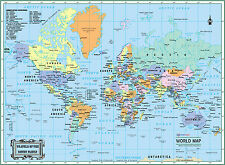 "2016 WORLD Wall Map Political Poster 32""x24""  LARGE PRINT Laminated Personalized"