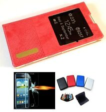Flip Pouch Book Cover Case for Sony Xperia T2 Ultra +Tempered Glass+ Card Wallet