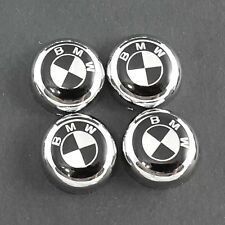 Set of 4 Chrome bolt cover + BMW decal License Plate Frame Screw Cap car