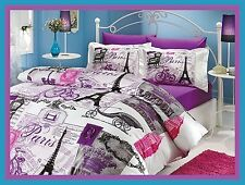 Paris Duvet Cover Set Eiffel Tower Queen 7Pc Bedding Purple Flat & Fitted Sheet
