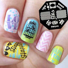 Nail Art Stamping Plates Image Stamp Template Zebra Stripes Love Pattern QA91