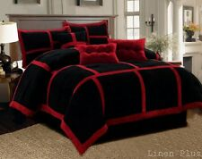 7 Piece Red Black Micro Suede Patchwork Comforter Set Queen Size @ Linen Plus