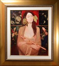 Stunning Female Art Deco Portrait Painting Illegibly Signed, Fine Gallery Piece!