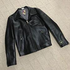 DIESEL Mens Black Leather Motorcycle Jacket L Large