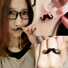 New Fashion Black Jewelry Mustache Pendant Necklace+Double Ring+Earrings Set