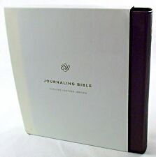 ESV Double Column Journaling Journal Bible Genuine Mahogany Brown Leather NEW